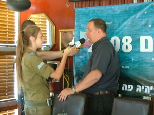 Zalul's Executive Director, Yariv Abramovich, is interviewed by Israel Army Radio (Galei Tzahal) at the 2008 Sea Report press conference.