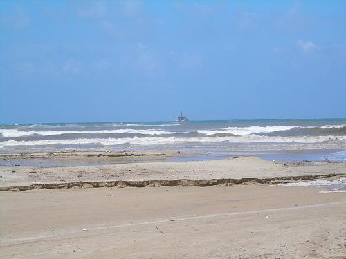 Receding sea